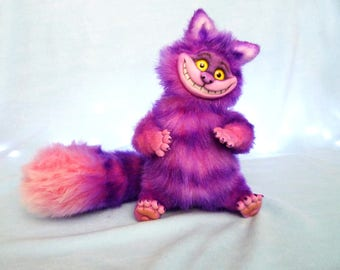 Pink Cheshire cat, Alice in Wonderland, stuffed toy, ooak