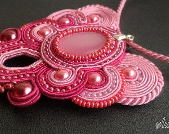 "Pink pendant ""Sweetness "", soutache jeweli, handmade,stone cat's eye. Free Shipping."