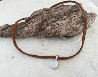 Brown leather chocker with tumbled quartz charm