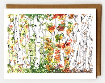 Sympathy Card, Death of Loved One, Loss of Mother, Funeral Card, Modern Sympathy Card, Trees, Death of Parent, Birch Forest, Four Seasons