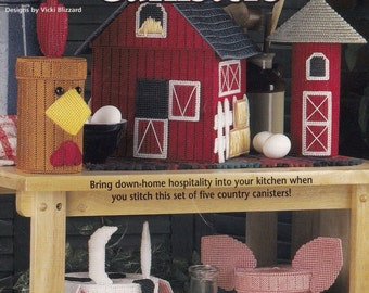 Country Kitchen Canisters, Home Decor Plastic Canvas Pattern Booklet House of White Birches 181065
