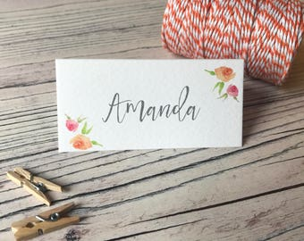 Pink & Peach Floral Place Cards - Wedding Name Cards  - Reception Table Decor