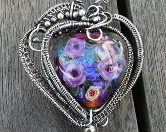 Handmade OOAK Sterling Silver Chainmaille Byzantine Weave Necklace with OOAK Lavender Lampwork Wire Wrapped Pendant