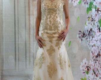 Classic illustration neck, open back gold lace, crystal beadings wedding dress