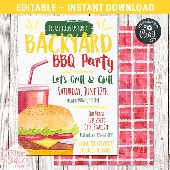 Summer BBQ Party Invitation