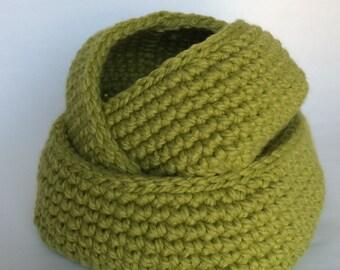 Set of 3 Square Base Crochet Baskets/Leaf Green