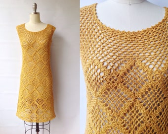 1960s Mustard Gold Crochet Day Dress | Vintage 60s Hand Crocheted Shift Dress | Women's Clothing Extra Small XS