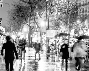 Paris City Street Night Life Photo Print France French