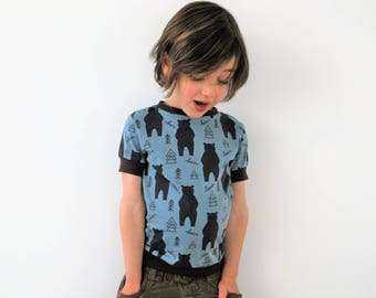 Boys t shirt top black blue bear scandinavian print fitted retro tee cotton baby vest soft toddler green funky kids babies kids t-shirt