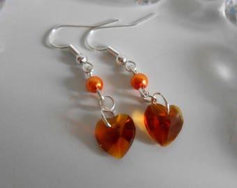 Orange heart and Pearl Earrings