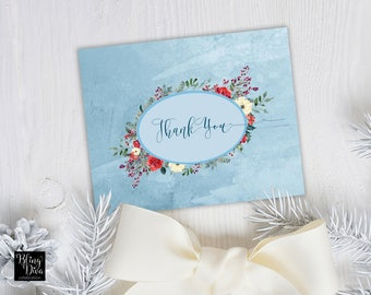 Winter Cardinal Thank You Card - Custom Print