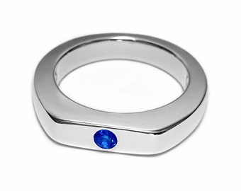 Simple Blue Sapphire Ring In Sterling Silver - Blue Sapphire Ring, Sterling Silver Sapphire Ring, Silver Sapphire Ring, Sterling Sapphire