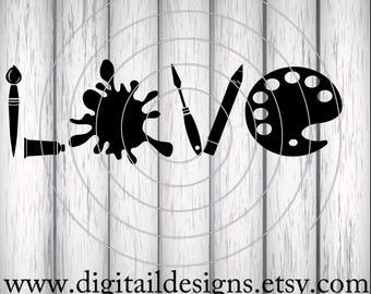 Artist Love SVG - png - dxf - eps - fcm - ai - Cut File for Silhouette, Cricut - Art Supplies Love SVG - Art SVG - Art Love
