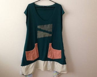 Funky Geometric Sleeveless Tunic. Upcycled Clothing Refashioned Shabby Eclectic Unique Lagenlook Top. Women's Plus Size 2x to 3x.