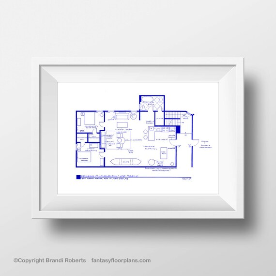 Friends tv show floor plan blueprint art for apartment of friends tv show floor plan blueprint art for apartment of joey tribbiani and chandler bing friends tv show gift malvernweather Image collections