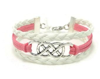 Double Infinity Bracelet, Infinity Bracelet, Double Infinity Jewelry, Leather Bracelet, Bohemian Bracelet, Gift for Her, Multilayer Bracelet