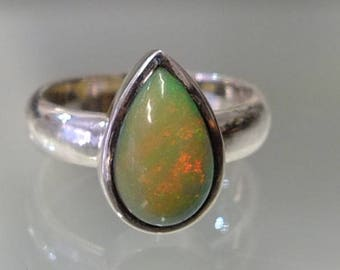 Opal Silver ring , ring size L 1/2  - M