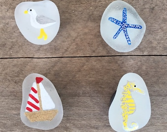 Hand painted sea glass magnets
