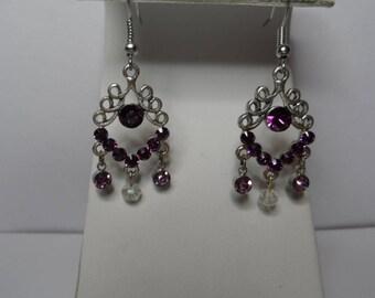 Purple Rhinestone Earrings,Free Shipping,Purple Rhinestone Chandelier with Purple and Clear Rhinestones.Great Gift For Her.