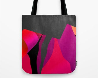 Tote Bag / Small Tote  / Lunch Tote Bag /  Art Tote Bag  / Pink Tote Bag  /  Abstract Art Bag   / Canvas Tote Bag / Graphic Print Tote