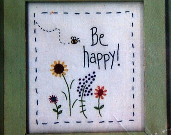 Be Happy! By Mac-A-Doodles Hand Embroidery Pattern Packet Undated