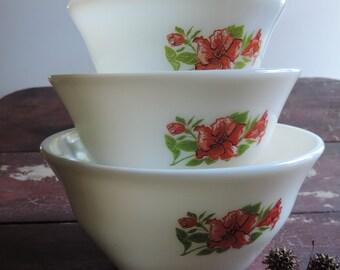 McKee Bowls Set Amarylis Milk Glass Nesting Bowls 1940's  Set of Three Vintage Salmon Floral Pattern Mixing Bowls Very Rare!!!