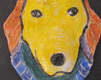Yellow Dog with Pretty Blue Collar Ceramic Wall Art