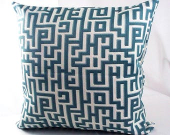 Geometric blue decorative pillows covers, Blue throw pillows, Blue accent pillows, Gray and blue throw pillows, Teal geometric pillows,