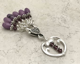 Purple Heart Stitch Marker Set - Snag Free - Gift for Knitters