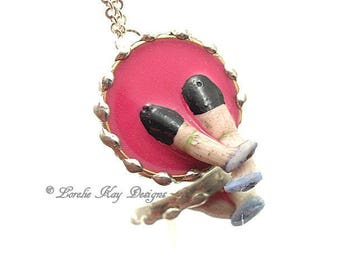 Jump In Feet First Necklace Cast Resin Soldered Doll Parts  Mixed Media Pendant Lorelie Kay Original