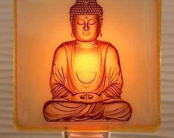 Buddha Night Light Fused Glass