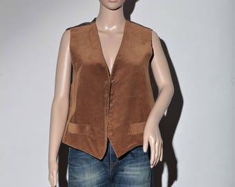 80's Brown velvet vest