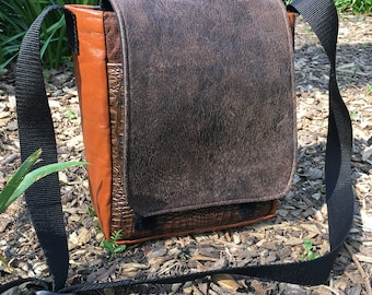 Faux Leather and Canvas Patchwork Daybag, Messenger Courier Bag