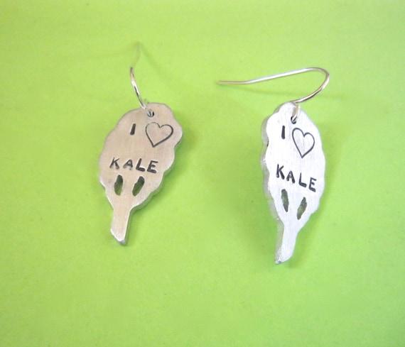 Vegan Earrings-I heart Kale earrings-Vegan Earrings-Plant Based-Eat Clean-Gift-Birthday-Anniversary-Wedding-Eco Friendly-Personalized
