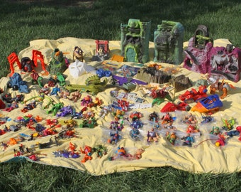 Massive Vintage Masters of the Universe Toy Lot He Man Action Figures Castle Grayskull Collectibles Magazine Skeletor Orco Snake Mountain