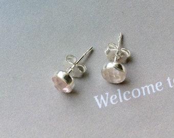 April Birthstone Earrings, 5mm Rose Quartz Stud Earrings or Rose Quartz Hug Hoop Earrings, April Birthday Gift,Gold Filled, Sterling Silver