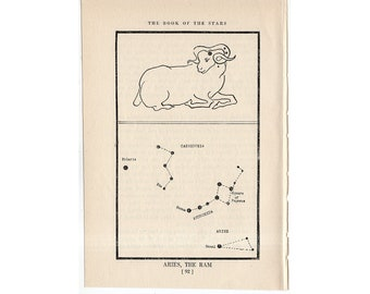 c. 1944 Aries - CONSTELLATION FIGURE PRINT - original vintage astronomy print - star map - celestial lithograph - the ram