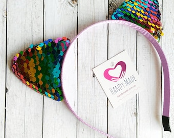 Rainbow ears cat headband Kitten ears with paillettes Shiny ears headpiece