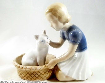 Bing And Grondahl Figurine - Girl with Cat in Basket ~ B & G #2249 ~ Made in Denmark