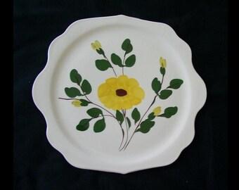 12\  Blue Ridge Platter MOUNTAIN GLORY Like Yellow Nocturne Tab Handled Tray Server Cake Plate & Yellow cake plate   Etsy