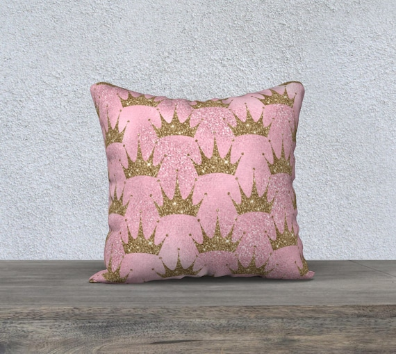 pink and gold crowns pillow cover in velveteen fabric