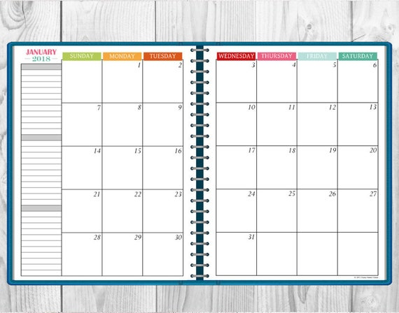 Printable MultiColor  Monthly Calendar TwoPage Spread