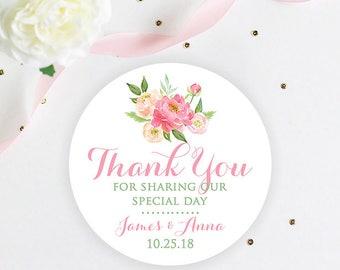 Wedding Favor Stickers, Floral Wedding Favor Stickers, Favor Box Stickers, Wedding Favor 2 Inch Stickers