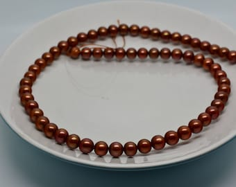 """7mm Cultured Freshwater Pearl Strand - Brown - 16"""""""