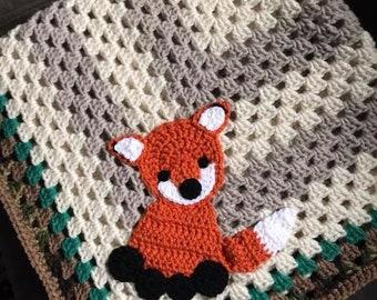 Fox Granny Square Blanket