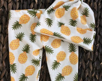 Pineapple print baby leggings and hat, pineapple baby beanie, pinapple top knot hat and pants set
