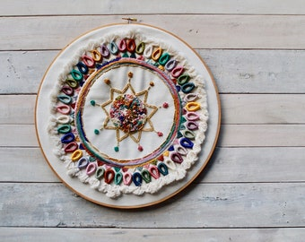 Hand Embroidered Boho Muted Rainbow Wall Art / Embroidery Hoop Art / Modern Wall Hanging / Home Decor / Beaded Tapestry /