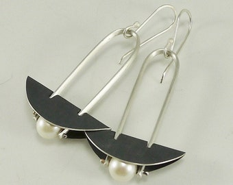Sterling and Pearl Warrior Earrings - E2640