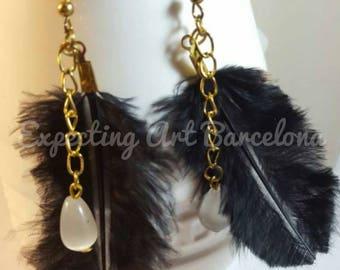 Earrings Golden black pen and tear white