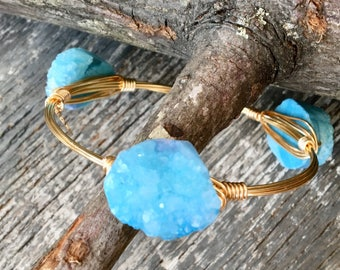 Bourbon & Boweties Inspired Bracelet/Bangle. Bohemian Wire Wrapped Sky Blue Quartz Titanium Druzy Agate Gemstone Bracelet.